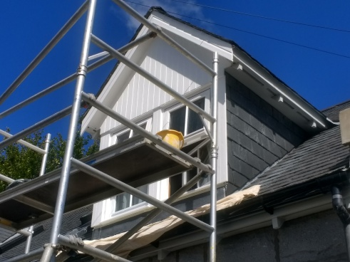Using my aluminium scaffold tower on a dormer window.