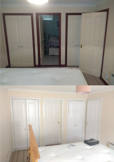 Woodstained door frames and skirting dark to satin white.